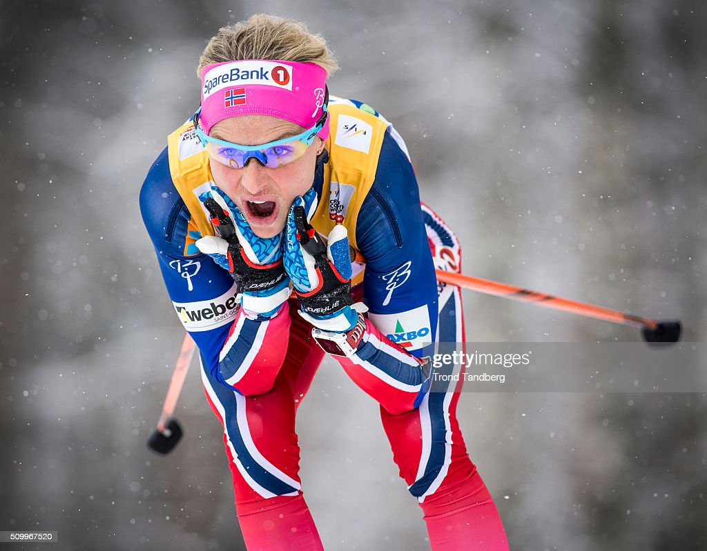 Winner <a gi-track='captionPersonalityLinkClicked' href=/galleries/search?phrase=Therese+Johaug&family=editorial&specificpeople=4176080 ng-click='$event.stopPropagation()'>Therese Johaug</a> of Norway during Cross Country Ladies 5.0 km Classic on February 13, 2016 in Falun, Sweden.