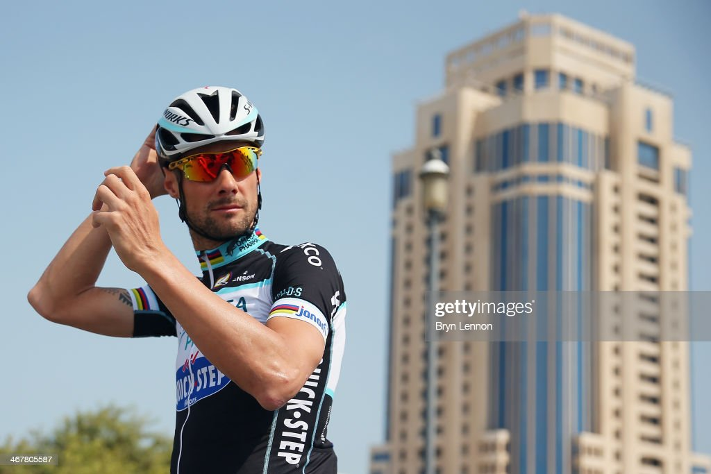 2012 winner <a gi-track='captionPersonalityLinkClicked' href=/galleries/search?phrase=Tom+Boonen&family=editorial&specificpeople=221255 ng-click='$event.stopPropagation()'>Tom Boonen</a> of Belgium and Omega Pharma-Quick Step prepares to train ahead of the 2014 Tour of Qatar on February 8, 2014 in Doha, Qatar. The 6 stage Tour of Qatar starts tomorrow with a 135km stage from Al Wakara to Dukhan Beach.