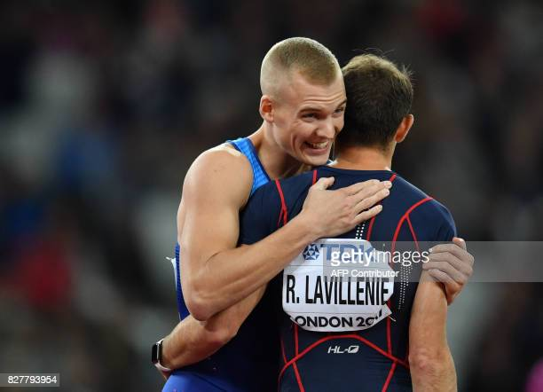 Winner US athlete Sam Kendricks and third placed France's Renaud Lavillenie embrace after the final of the men's pole vault athletics event at the...