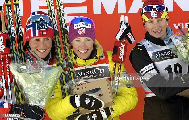 Winner US Kikkan Randall Norway's secondplaced Marit Bjoergen and Slovakia's thirdplaced Alena Prochazkova celebrate during a podium ceremony after...