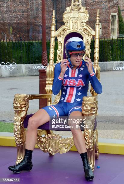 Winner USA's Kristin Armstrong sits on the throne after winning the Women's Individual Time Trial