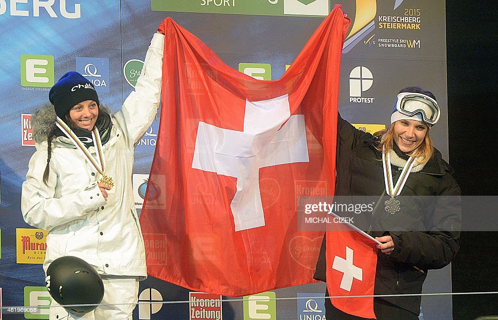 Winner <a gi-track='captionPersonalityLinkClicked' href=/galleries/search?phrase=Virginie+Faivre&family=editorial&specificpeople=786060 ng-click='$event.stopPropagation()'>Virginie Faivre</a> of Switzerland and third placed Mirjiam Jaeger of Switzerland celebrate at the podium after the Women's Ski Halfpipe Final at FIS Freestyle and Snowboarding World Ski Championships in Kreischberg, Austria on January 22, 2015.
