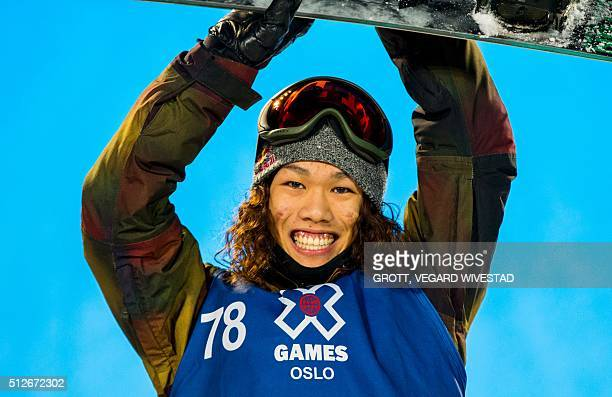 Winner Yuki Kadono from Japan poses on the podium after Big Air men snowboard competition at X Games Oslo 2016 on February 27 2016 in Oslo Scanpix /...