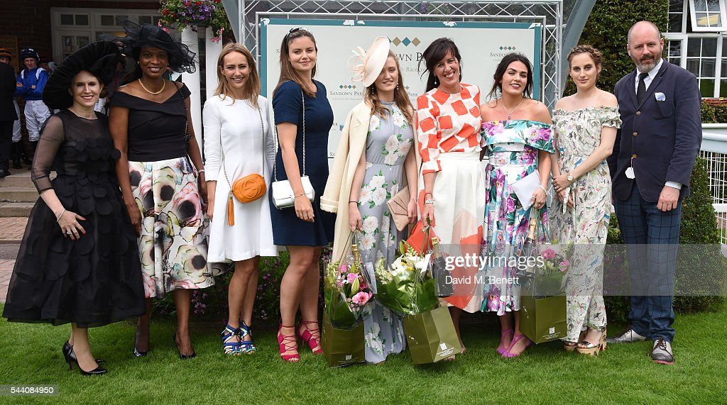 Winners and Judges line up (L-R) Guest, Guest, Lavinia Brennan, Lady Natasha Rufus Isaacs, 3rd placed Lexi O'Neil, Winner Tina Gough, Runner up Nicola Mintern, Rosie Fortescue and Noel Stewart attend the Sandown Park Racecourse Ladies' Day STYLE AWARD Hosted by Rosie Fortescue>> at Sandown Park on July 1, 2016 in Esher, England.