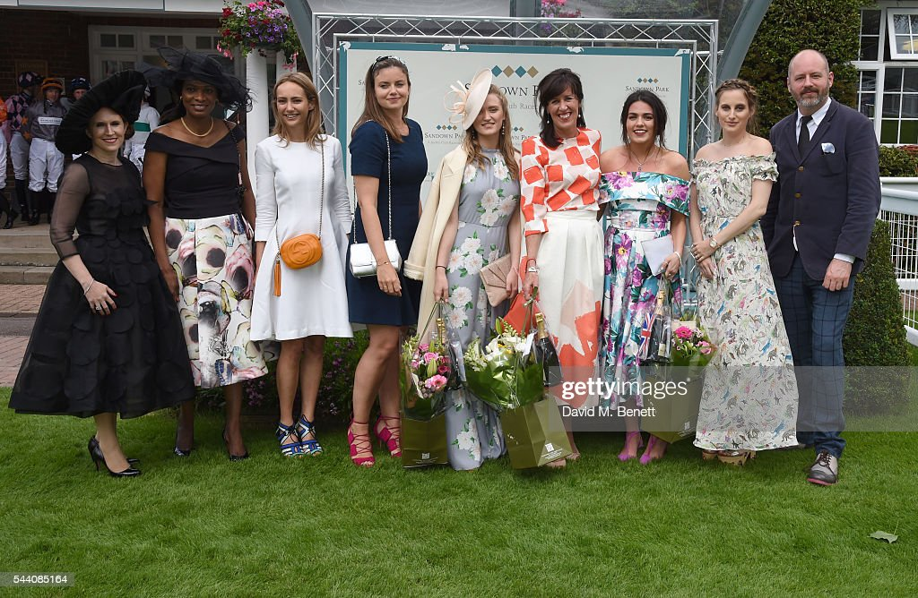 Winners and Judges line up (2nd L-R) Lavinia Brennan, Lady Natasha Rufus Isaacs, 3rd placed Lexi O'Neil, Winner Tina Gough, Runner up Nicola Mintern, Rosie Fortescue and Noel Stewart attend the Sandown Park Racecourse Ladies' Day STYLE AWARD Hosted by Rosie Fortescue at Sandown Park on July 1, 2016 in Esher, England.