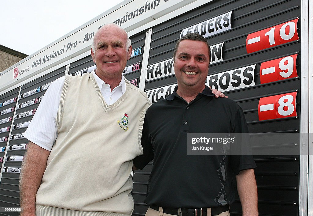 Winners Andre Roberts (L) and Alex Rowland of Hawarden pose for a picture at the end of play during the Virgin Atlantic PGA National Pro-Am Championship regional final at St Annes Old Links Golf Club on May 19, 2010 in Lytham St Anne's, England.