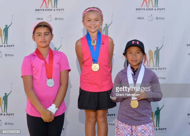 Winners Ashnoor Kaur Ella June Hannant and Sydney Neou of the Girls 79 Division of The Drive Chip and Putt Championship at Pinehurst Resort on...