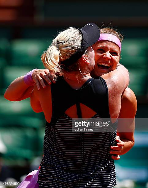 Winners Bethanie MattekSands of the United States of America and Lucie Safarova of Czech Republic celebrate match point in the Women's Doubles Final...