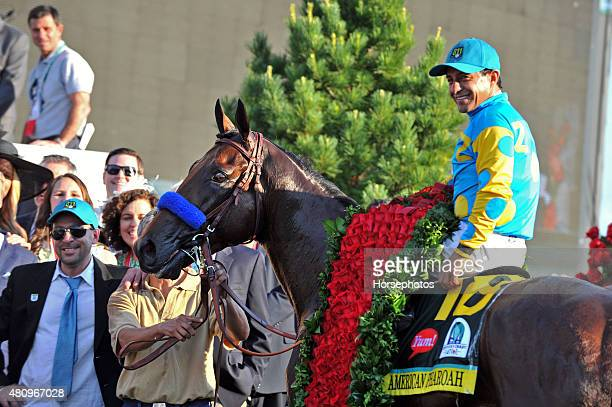 Winners circle after American Pharoah with Victor Espinoza up wins the Kentucky Derby at Churchill Downs Race Track on May 2 2015