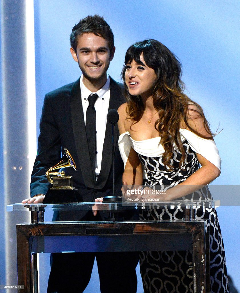 Winners For Best Dance Recording <a gi-track='captionPersonalityLinkClicked' href=/galleries/search?phrase=Zedd+-+Musician&family=editorial&specificpeople=5830568 ng-click='$event.stopPropagation()'>Zedd</a> (L) and Foxes (R) onstage during the 56th GRAMMY Awards Pre-Telecast Show at Nokia Theatre L.A. Live on January 26, 2014 in Los Angeles, California.