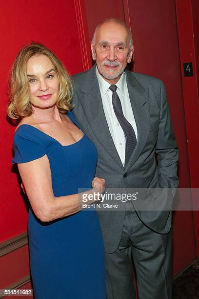 Winners for outstanding actor in a play Jessica Lange for 'Long Day's Journey Into Night' and Frank Langella for 'The Father' pose for photographs...