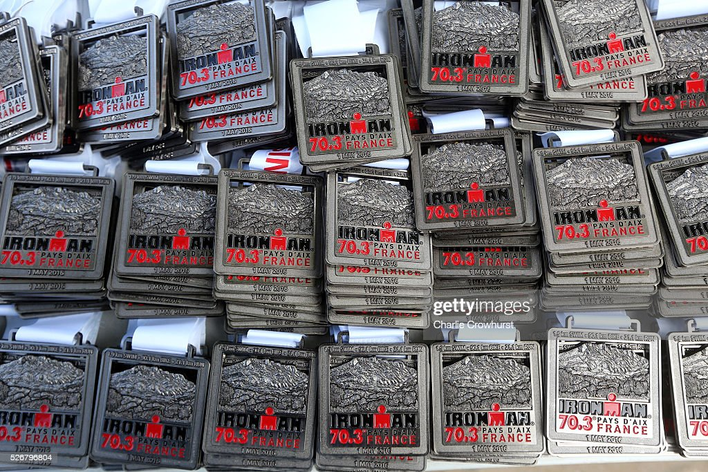 Winners medals in display during Ironman 70.3 Aix en Provence on May 01, 2016 in Aix en Provence, France.