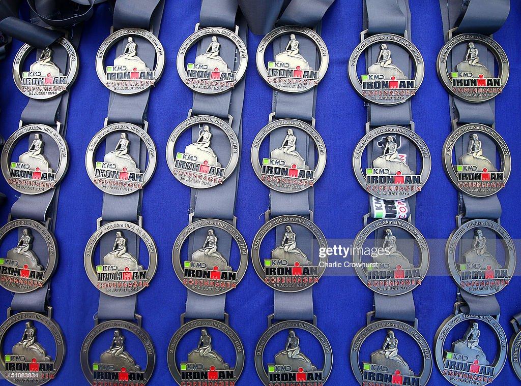 Winners medals on show during Ironman Copenhagen on August 24, 2014 in Copenhagen, Denmark.