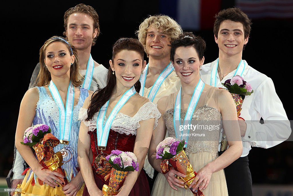 Winners <a gi-track='captionPersonalityLinkClicked' href=/galleries/search?phrase=Meryl+Davis&family=editorial&specificpeople=3995758 ng-click='$event.stopPropagation()'>Meryl Davis</a> and Charlie White of the USA (C), 2nd placed Tessa Virtue and Scoot Moir of Canada (R) and Nathalie Pechalat and <a gi-track='captionPersonalityLinkClicked' href=/galleries/search?phrase=Fabian+Bourzat&family=editorial&specificpeople=722335 ng-click='$event.stopPropagation()'>Fabian Bourzat</a> of France (L) pose for photographs after competing in the Ice Dance Free Dance on the day two of ISU Grand Prix of Figure Skate Final at Yoyogi National Gymnasium on December 4, 2009 in Tokyo, Japan.