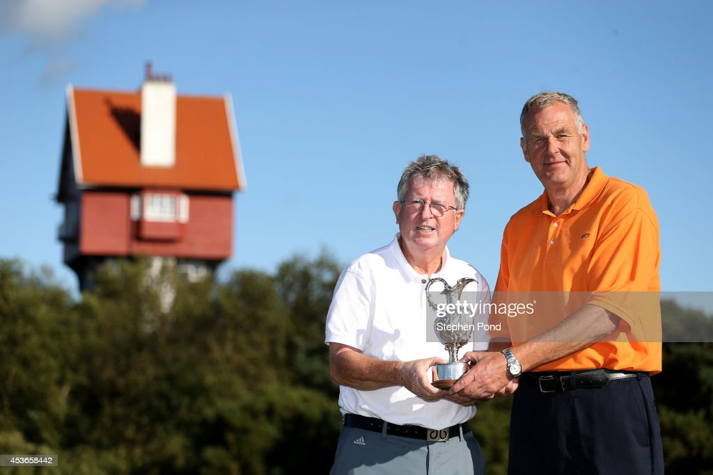 Winners Murray White (right) and Amateur John Griffin pose with the trophy after day two of the PGA Super 60's Tournament at Thorpeness Hotel and Golf Club on August 15, 2014 in Thorpeness, England.