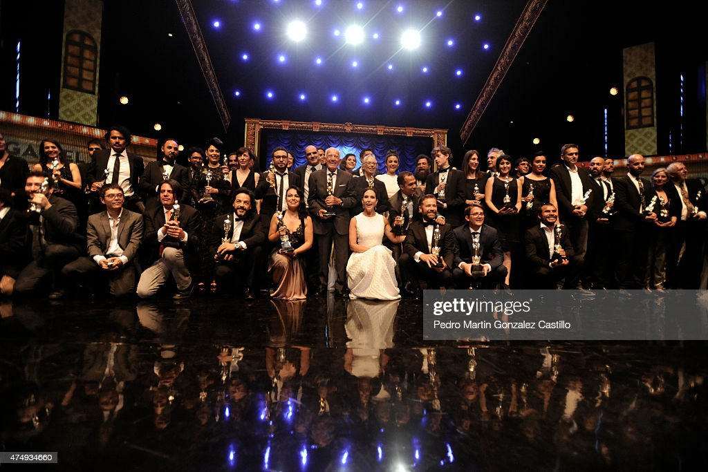 Winners of Ariel Awards Ceremony pose for pictures after the 57th Ariel Awards Ceremony at Bellas Artes Palace on May 27 2015 in Mexico City Mexico