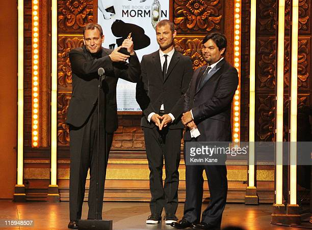 Winners of Best Book of a Musical for 'Book of Mormon' Trey Parker Matt Stone and Robert Lopez speak on stage during the 65th Annual Tony Awards at...