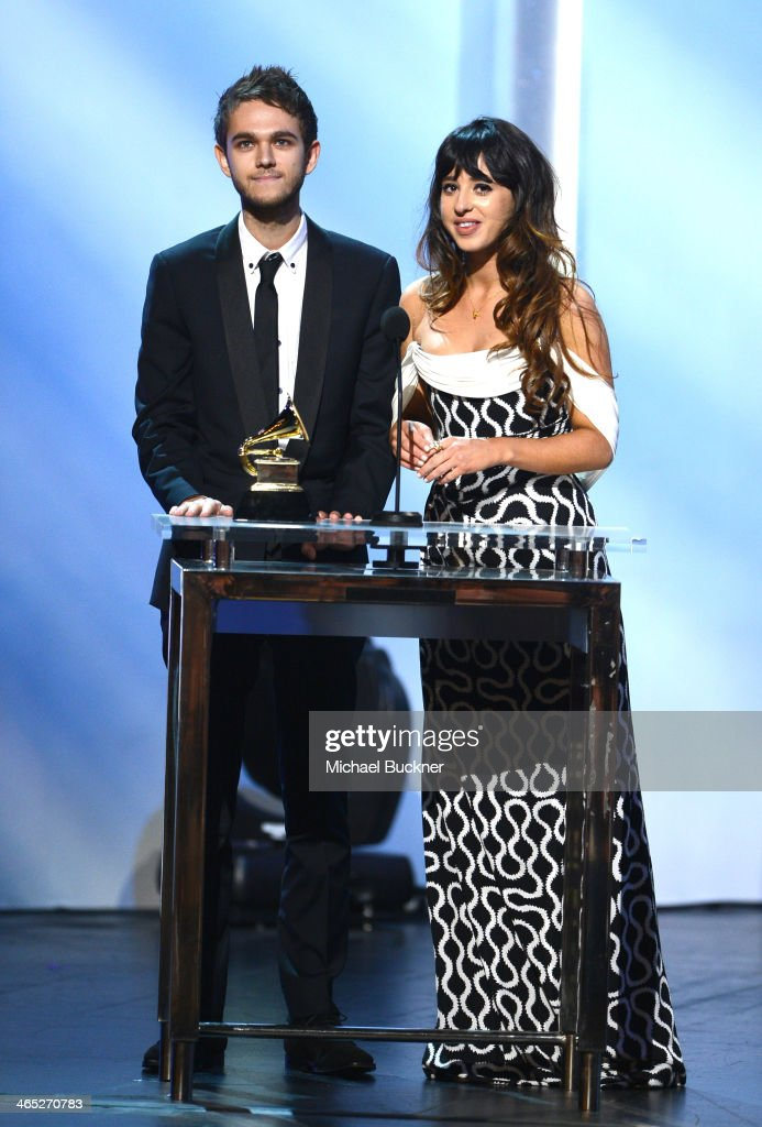 Winners of Best Dance Recording, <a gi-track='captionPersonalityLinkClicked' href=/galleries/search?phrase=Zedd+-+Musician&family=editorial&specificpeople=5830568 ng-click='$event.stopPropagation()'>Zedd</a> (L) and Foxes accept their award onstage during the 56th GRAMMY Awards Pre-Telecast at Nokia Theatre L.A. Live on January 26, 2014 in Los Angeles, California.