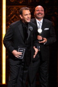 Winners of Best Direction of a Musical Trey Parker and Casey Nicholaw speak on stage during the 65th Annual Tony Awards at the Beacon Theatre on June...