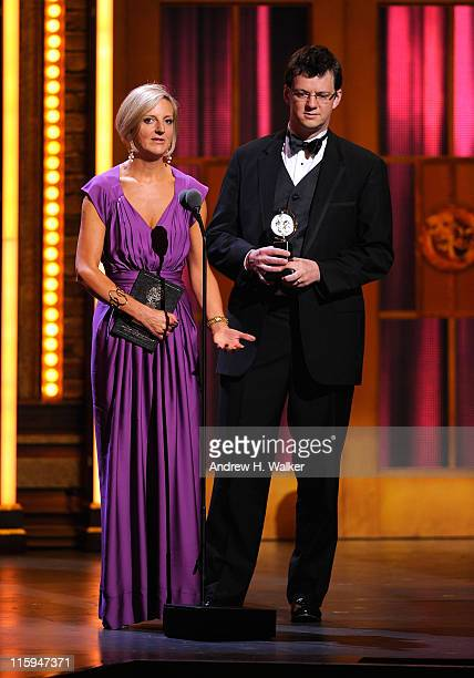Winners of Best Direction of a Play Marianne Elliott and Tom Morris speak on stage during the 65th Annual Tony Awards at the Beacon Theatre on June...