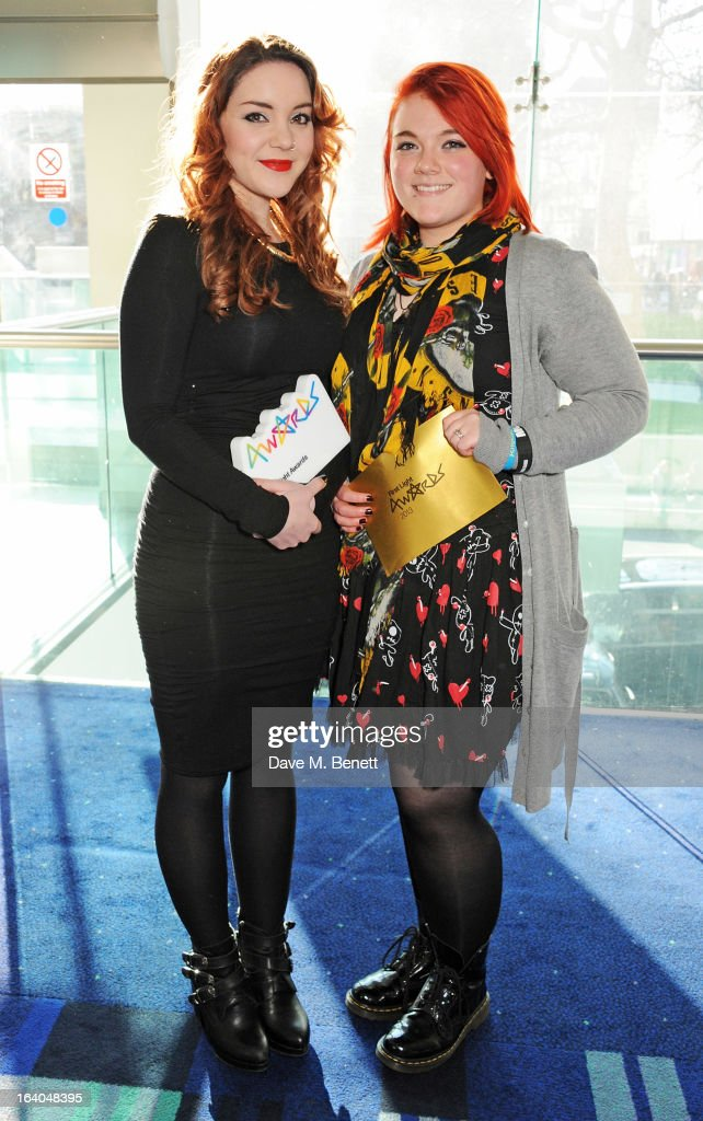 Winners of Best Film by over 13's Rachel Welch and Kyra Georgson attend the First Light Awards at Odeon Leicester Square on March 19, 2013 in London, England.