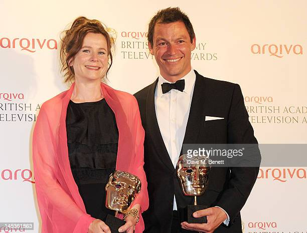Winners of Best Leading Actress and Best Leading Actor for 'Appropriate Adult' Emily Watson and Dominic West pose in front of the winners boards at...