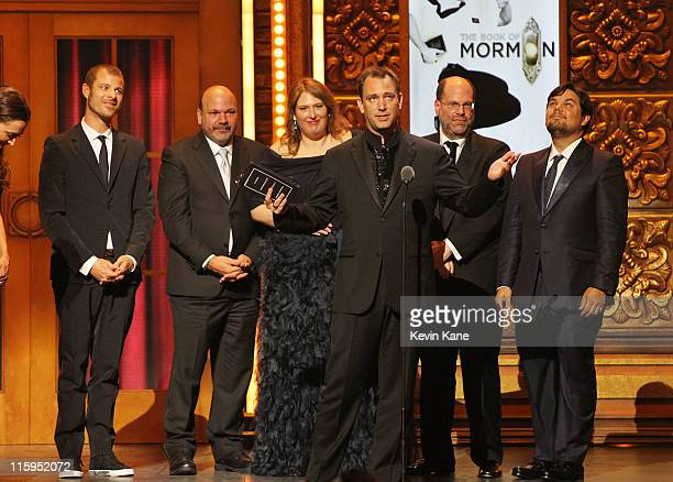 Winners of Best Musical for 'Book of Mormon' Trey Parker Matt Stone Robert Lopez and crew speak on stage during the 65th Annual Tony Awards at the...
