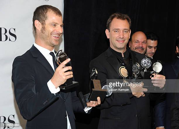 Winners of Best Musical Matt Stone and Trey Parker attend the press room during the 65th Annual Tony Awards at the The Jewish Community Center in...