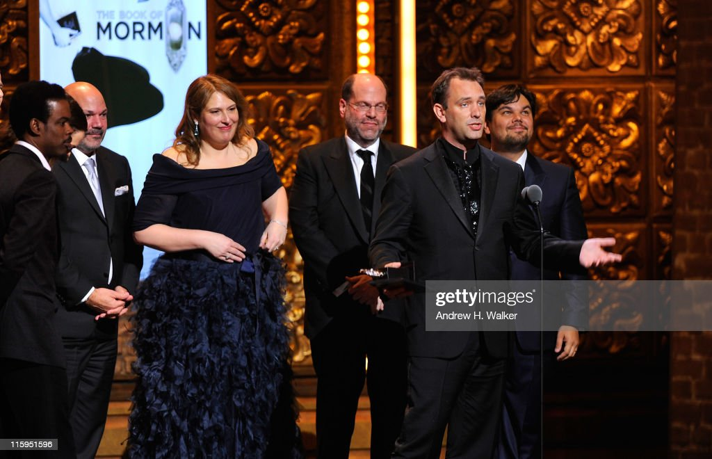 Winners of Best Musical <a gi-track='captionPersonalityLinkClicked' href=/galleries/search?phrase=Trey+Parker&family=editorial&specificpeople=215370 ng-click='$event.stopPropagation()'>Trey Parker</a> (2nd R), Matt Stone, Robert Lopez (R) and crew speak on stage with during the 65th Annual Tony Awards at the Beacon Theatre on June 12, 2011 in New York City.