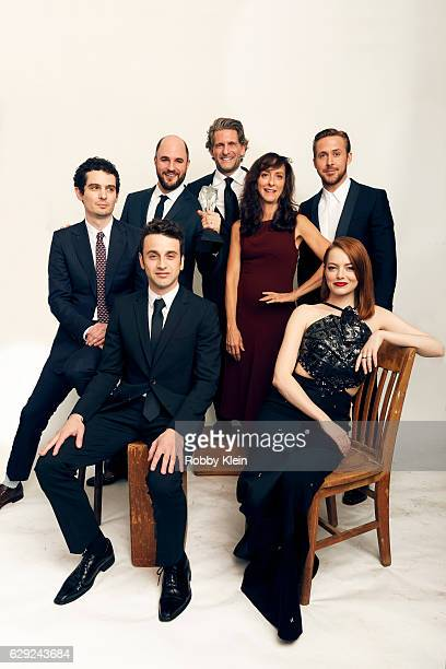 Winners of Best Picture for 'La La Land' Damien Chazelle Jordan Horowitz Gary Gilbert Mary Zophres Ryan Gosling Justin Hurwitz and Emma Stone pose...