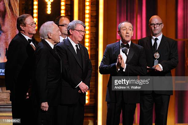 Winners of Best Play Niholas Hytner and Nick Stafford speak on stage during the 65th Annual Tony Awards at the Beacon Theatre on June 12 2011 in New...