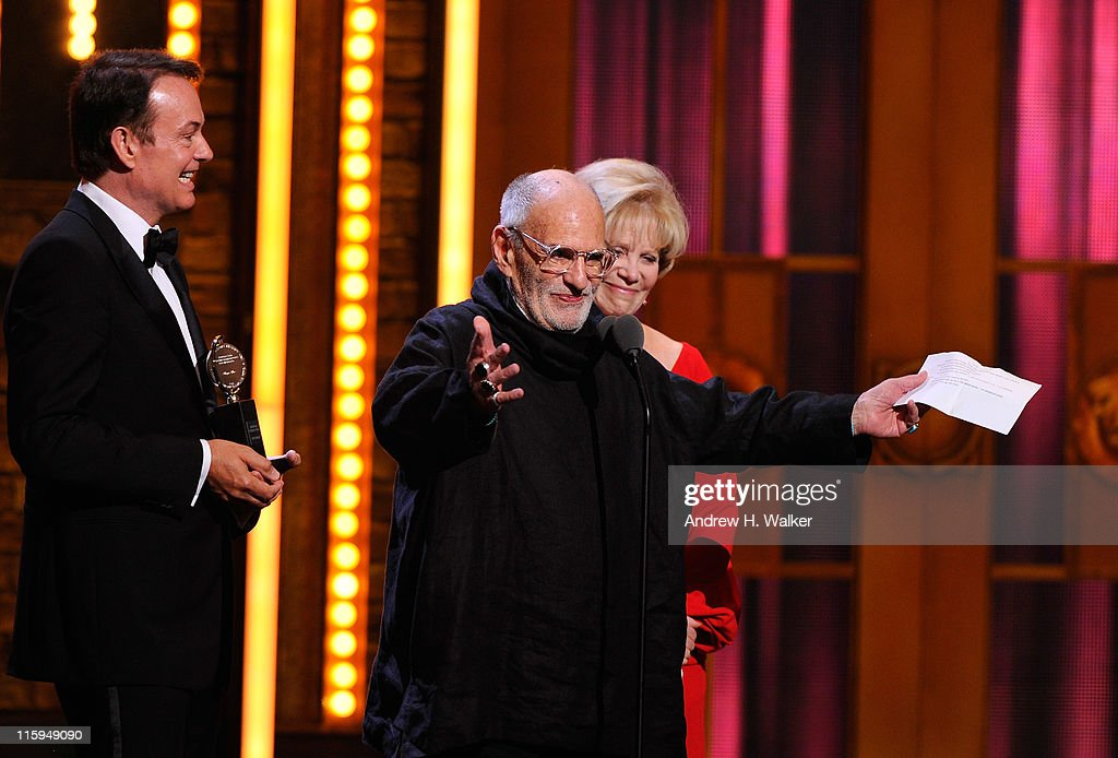 Winners of Best Revival of a Play Larry Kramer and Daryl Roth speak on stage during the 65th Annual Tony Awards at the Beacon Theatre on June 12, 2011 in New York City.