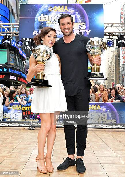 Winners of 'Dancing With The Stars' Season 18 Meryl Davis and Maksim Chmerkovskiy visit ABC's 'Good Morning America' at Times Square on May 21 2014...