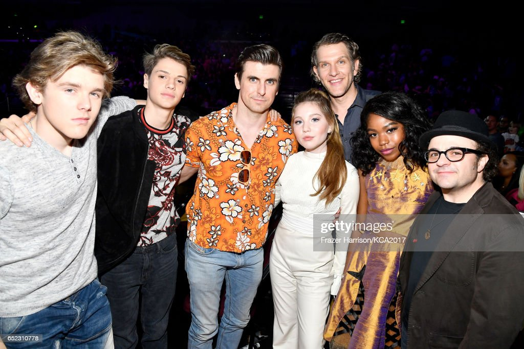 Winners of Favorite TV Show for 'Henry Danger,' actors Sean Ryan Fox, Cooper Barnes, Michael Cohen, Riele Downs, Ella Anderson, Jace Norman, and Jeffrey Brown at Nickelodeon's 2017 Kids' Choice Awards at USC Galen Center on March 11, 2017 in Los Angeles, California.