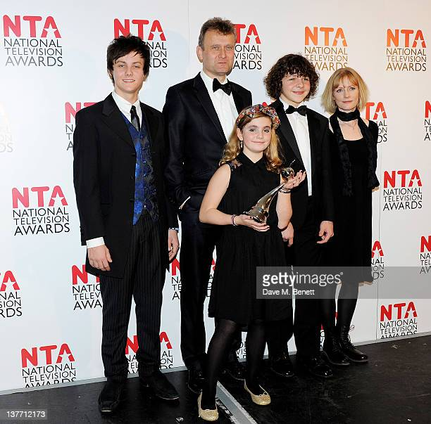 Winners of Situation Comedy Tyger DrewHoney Hugh Dennis Ramona Marquez Daniel Roche and Claire Skinner pose in front of the winners boards during the...