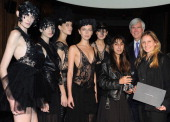 Winners of the 2012 Dorchester Collection Fashion Prize Odely Teboul and Annelie Augustin pose with Christopher Caldray chief executive officer of...
