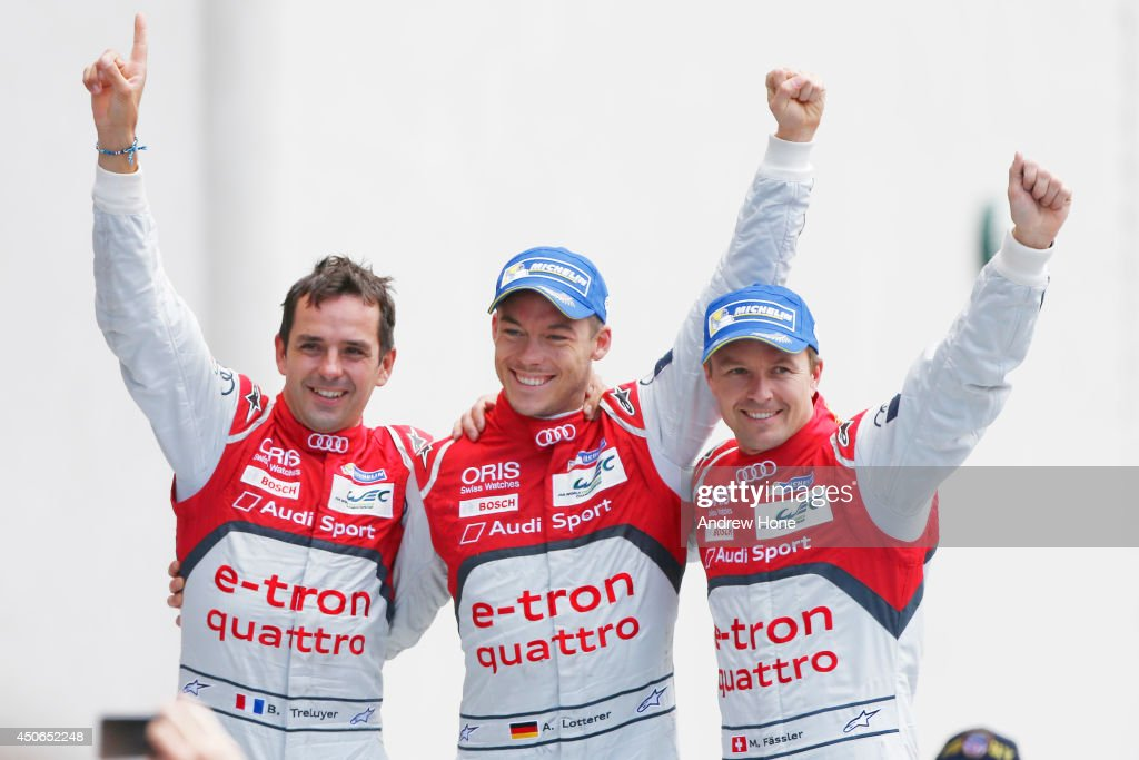 Winners of the 2014 Le Mans 24 Hour, Audi Sport Team Joest, Audi R18 E-Tron Quattro of Marcel Fassler, André Lotterer and Benoit Treluyer on June 15, 2014 in Le Mans, France.