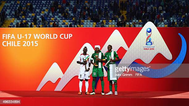 Winners of the adidas Bronze Ball Aly Malle of of Mali Golden Ball Kelechi Nwakali of Nigeria and Silver Ball Victor Osimhen of Nigeria pose after...