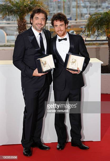 Winners of the award for Best Actor Javier Bardem Elio Germano attend the Palme d'Or Award Ceremony Photo Call held at the Palais des Festivals...