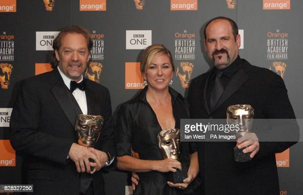 Winners of the award for Hair and Makeup Gregory Nicotero Nikki Gooley and Howard Berger for their work on The Chronicles Of Narnis The Lion The...