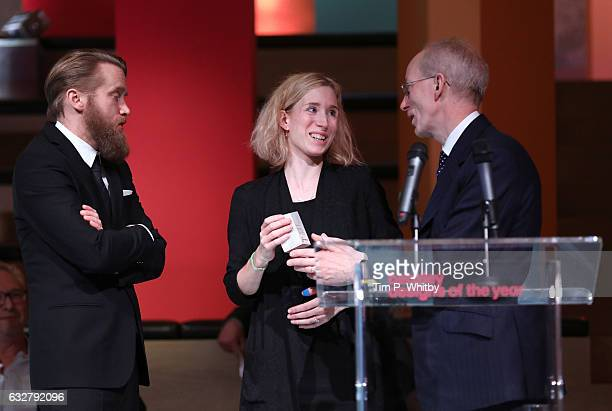 Winners of the Beazley Design of the Year Marta Terne and Christian Gustafsson of Better Shelter accepting their award from CEO of Beazley Andrew...