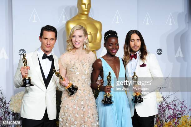 Winners of the best Actor and Actress Oscars Matthew McConaughey Cate Blanchett Lupita Nyong'o and Jared Leto in the press room of the 86th Academy...