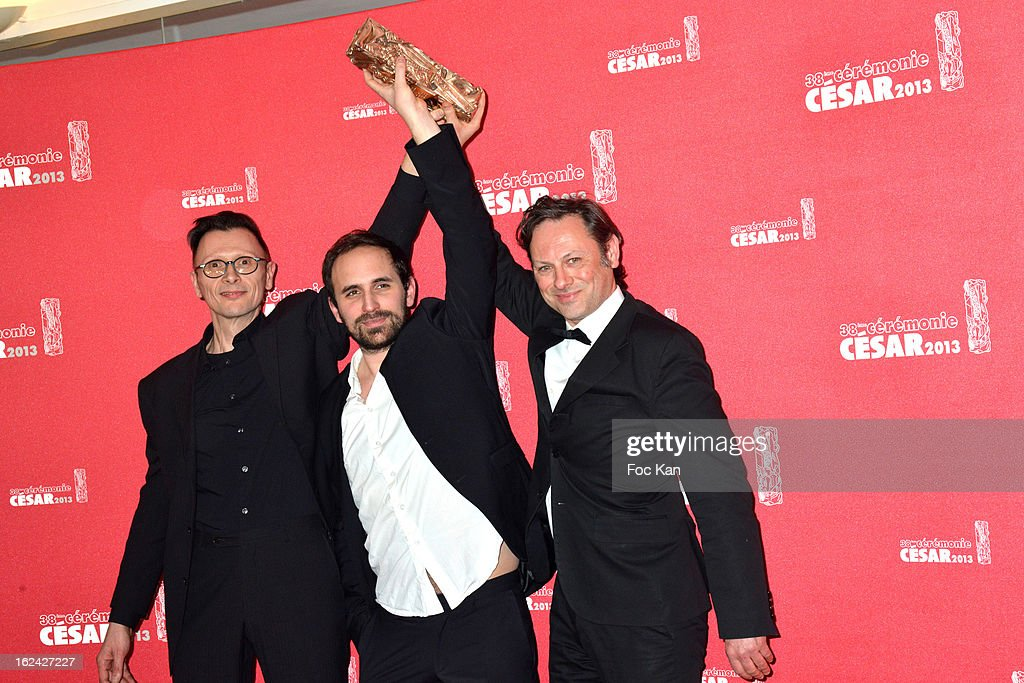 Winners of the Best Cartoonists award Vincent Patar, Stéphane Aubier and Benjamin Renner attend the Awards Room - Cesar Film Awards 2013 at the Theatre du Chatelet on February 22, 2013 in Paris, France.