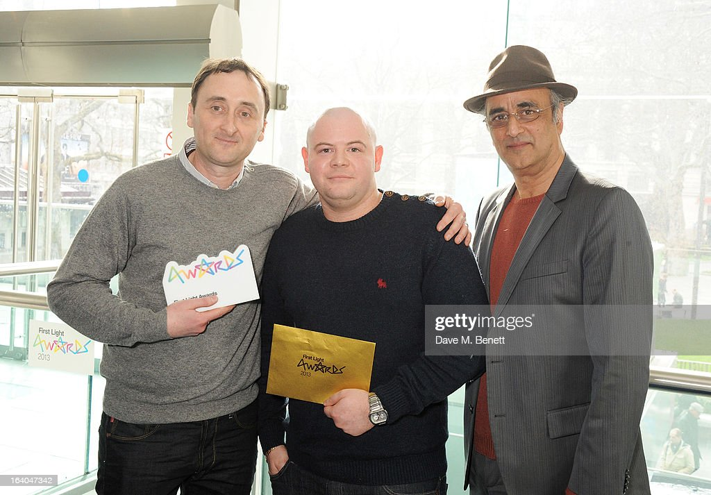 Winners of the Best Documentary award Paul McCann and Michael Williams with Art Alik attend the First Light Awards at Odeon Leicester Square on March 19, 2013 in London, England.