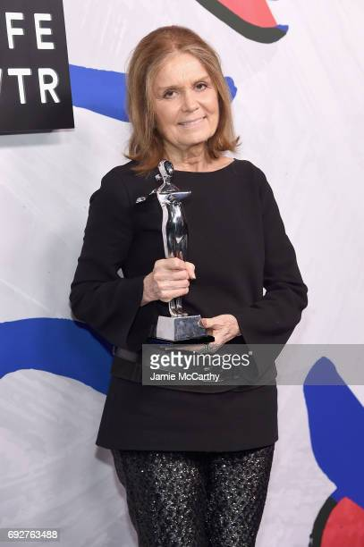 Winners of the Board of Directors' Tribute Gloria Steinem poses on the Winners Walk during the 2017 CFDA Fashion Awards at Hammerstein Ballroom on...