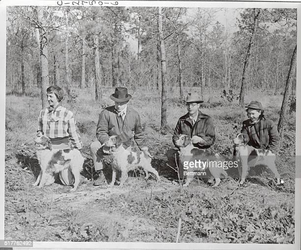 Winners of the first floor places in the allage stake of Old Dominion Brittany Club Annual Field Trials are shown here with handlers or owners Left...
