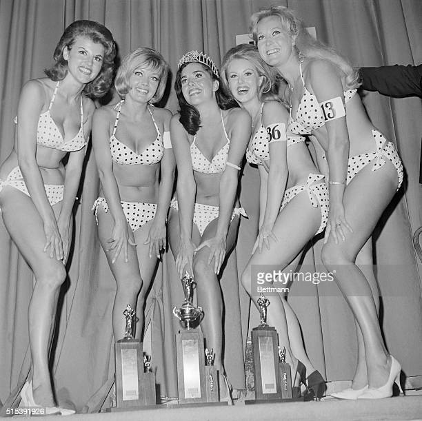 Winners of the first Miss California Bikini Contest pose for pictures after the judges made their selections Miss Edy Williams was crowned Miss...