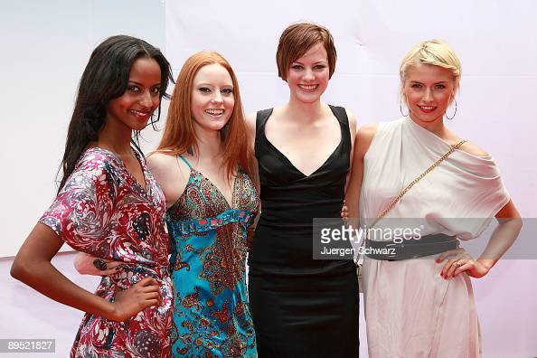 Winners of the four contests 'Germany's next top model' Sara Nuru Barbara Meier Jennifer Hof and Lena Gercke pose at a photocall prior to the...
