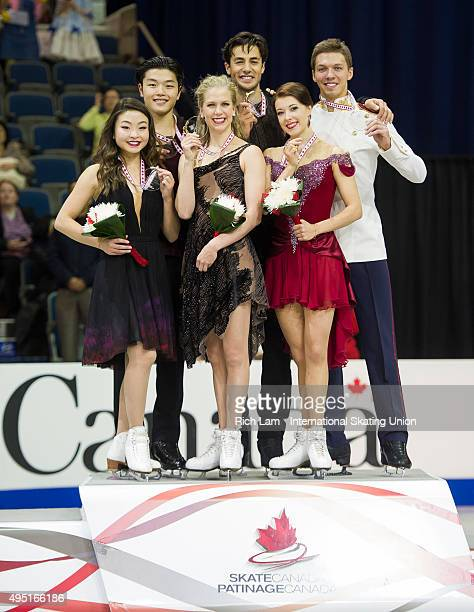 Winners of the Ice Dance Kaitlyn Weaver and Andrew Poje of Canada second place Maia Shibutani and Alex Shibutan of the United States and third place...