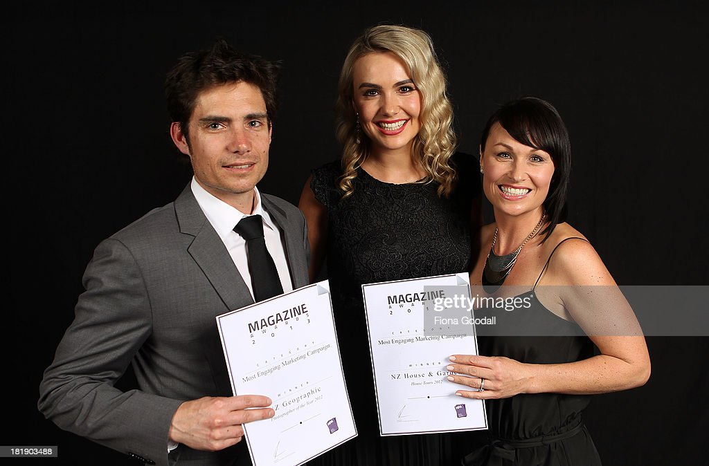 Winners of the most engaging marketing campaign were NZ Geographic with James Frankham, (L) and NZ House & Garden with Ellie Trotter, (C) and Pip Simeon, (R) during the 2013 MPA Awards at Rangatira Theatre on September 26, 2013 in Auckland, New Zealand.